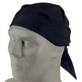 Biker Do-Rag Bandanna Headwrap Scarf - BLACK