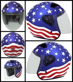 DOT ¾ Shell RK5 America Motorcycle Helmet with removable visor
