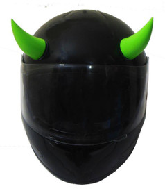 Green Rubber Motorcycle Helmet Horns