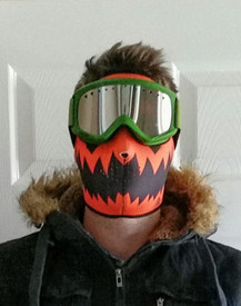 Check out Wer Binich in his Skelly Reverses to Pumpkin Neoprene Face Mask