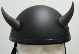 Silver Devil Horns Medium Curved Helmet Horns