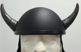 Silver Motorcycle Helmet Bull Horns