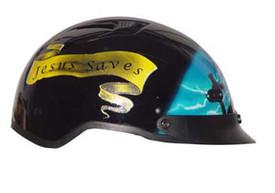 Blue Cross DOT Shorty Motorcycle Helmet right side