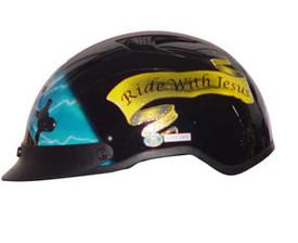 Blue Cross DOT Shorty Motorcycle Helmet left side