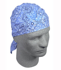 Two-Tone Ice Blue Paisley Flames Do-Rag Flydanna