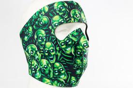 Green Skulls Neoprene Face Mask