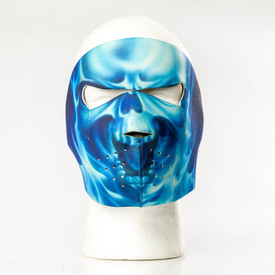 Blue Skull Flame Face Mask