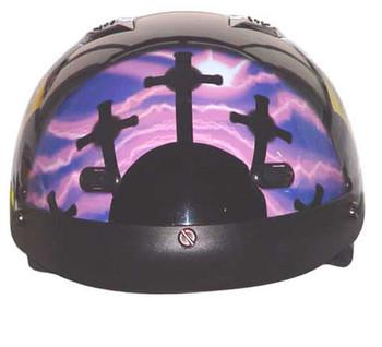 DOT Purple Pink Cross Christian Shorty Motorcycle Helmet