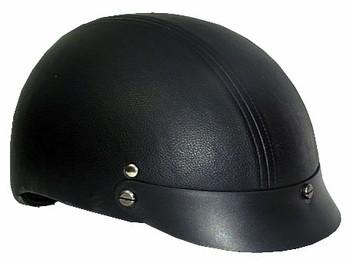 Leather DOT Motorcycle Helmet