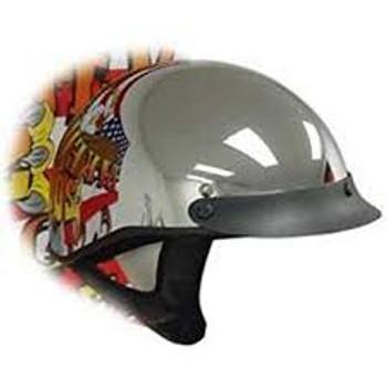 DOT Chrome Shorty Motorcycle Helmet