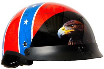 DOT Rebel Flag Shorty Motorcycle Helmet
