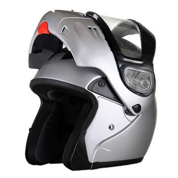 DOT Modular Full Face Silver Snowmobile Helmet