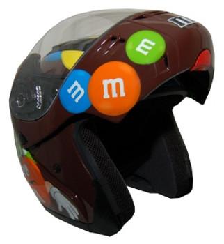 DOT Modular Full Face Brown M&M Motorcycle Helmet Open