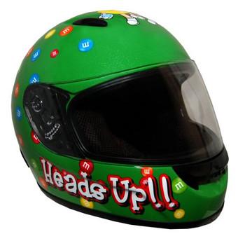 DOT Certified GREEN Kids M&M Full Face Motorcycle Helmet