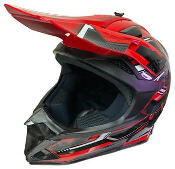 DOT Certified Red Base MX Motocross Helmet - Motorcycle ATV Helmet