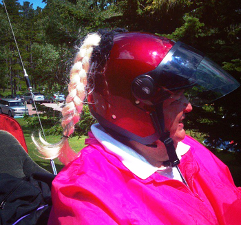 Customer photo of our Blonde Motorcycle Helmet Pigtails in action.