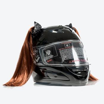 Natural Red Motorcycle Helmet Pigtails
