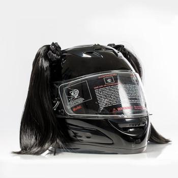 Black Motorcycle Helmet Pigtails