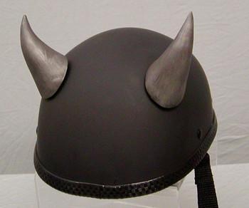 Silver Devil Motorcycle Helmet Horns Large Curved