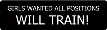 Girls Wanted All Positions Will Train! Motorcycle Helmet Sticker