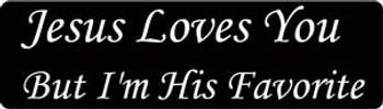Jesus Loves You But I'm His Favorite Motorcycle Helmet Sticker