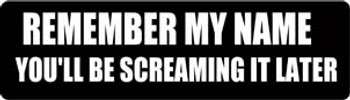 Remember My Name You'll Be Screaming It Later Motorcycle Helmet Sticker