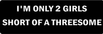 I'M ONLY 2 GIRLS SHORT OF A THREESOME Motorcycle Helmet Sticker