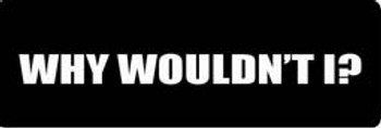 WHY WOULDN'T I Motorcycle Helmet Sticker