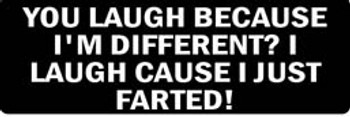 YOU LAUGH BECAUSE I'M DIFFERENT? I LAUGH CAUSE I JUST FARTED! Motorcycle Helmet Sticker