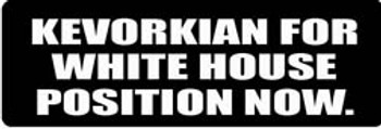 KEVORKIAN FOR WHITE HOUSE POSTION NOW Motorcycle Helmet Sticker