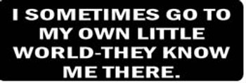 I SOMETIMES GO TO MY OWN LITTLE WORLD-THEY KNOW ME THERE Motorcycle Helmet Sticker