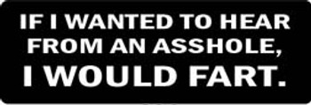 IF I WANTED TO HEAR FROM AN ASSHOLE, I WOULD FART Motorcycle Helmet Sticker