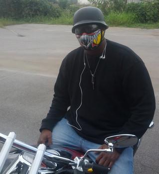 Half Devil Neoprene Face Mask in action