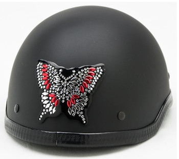 Butterfly Rhinestone Helmet Patch on a Motorcycle Helmet
