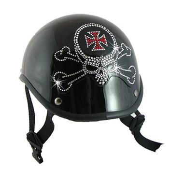 Skull Crossbones Rhinestone Helmet Patch on a helmet