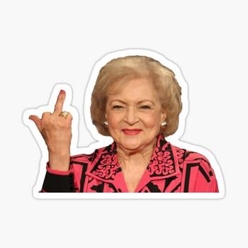 Betty White Flipping Bird Sticker Golden Girls Sticker