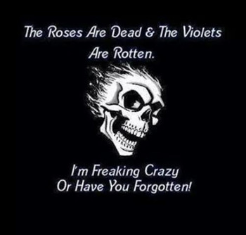 The roses are dead and the violets are rotten Im freaking crazy or have you forgotten