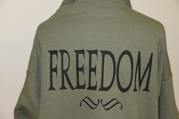 Freedom on a Olive Drab Shirt.