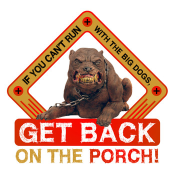 IF YOU CAN'T RUN WITH THE BIG DOGS, GET BACK ON THE PORCH!