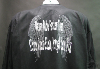 Never Ride Faster Than Your Guardian Angel Can Fly. Biker T-Shirts