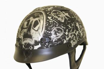 DOT Matte Bone Yard Black Shorty Motorcycle Helmet