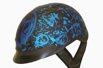 DOT Matte Bone Yard Blue Shorty Motorcycle Helmet