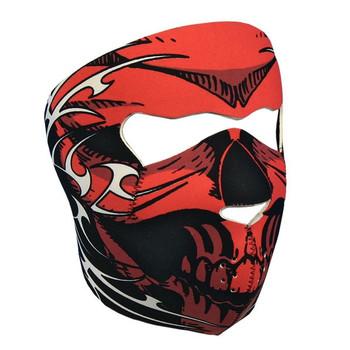 Red Tribal Skull Neoprene Face Mask