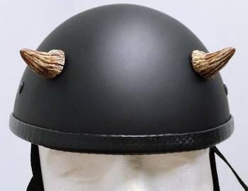 Bone Small Motorcycle Helmet Devil Horns