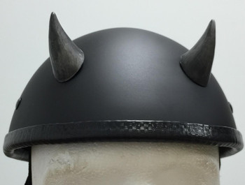 Silver Devil Horns Small Curved Motorcycle Helmet Horns