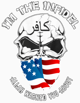 I'M THE INFIDEL ALLAH WARNED YOU ABOUT American flag T-Shirt