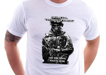 """And God Said, """"Let There Be Marines"""" And The Devil Ran In Fear T-Shirt"""