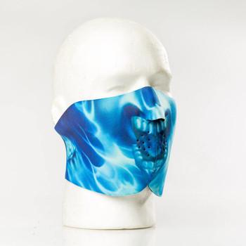 Blue Skull Flame Neoprene Half Face Mask