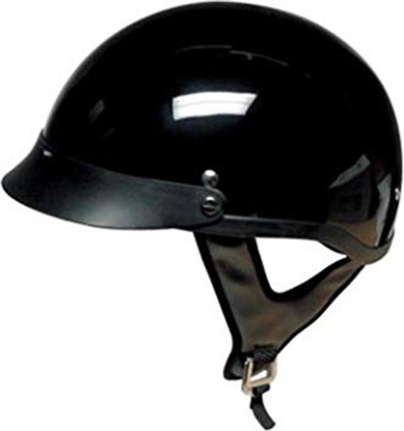 DOT GLOSS BLACK MOTORCYCLE HALF HELMET