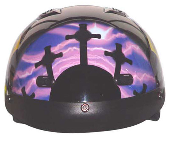 DOT Purple Pink Cross Christian Shorty Motorcycle Helmet